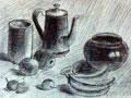 《白瓷壶与黑瓷罐》
