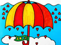 彩虹颜色的雨伞