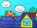 屋顶上睡觉的猫