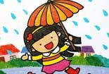 撑花伞的小女孩