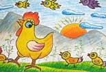 老母鸡保护小鸡