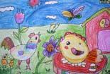儿童彩色铅笔画-小鸡幸福的一家